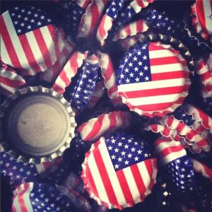 Beer Bottle Caps - American Flag