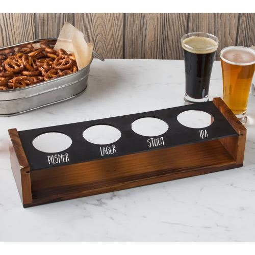 beer flight paddle walnut finish caddy with chalkboard paint