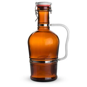 Beer Bottles - 64 oz Amber Growler with Stainless Handle