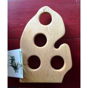 Beer Flight Paddle - Michigan Shaped Natural Maple
