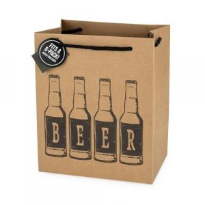 Beer Carrier - 6 Pack Mass Kraft Gift Bag