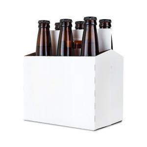 Beer Carrier - 6 Pack, White Cardboard