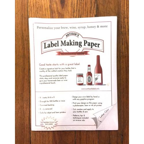 Wine Labels - White Label Making Paper - Michigan Brew Supply - Home Brewing Beer Supplies, Ingredients and More