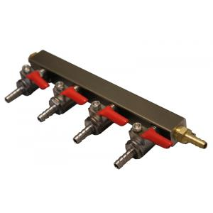 "Gas Manifold - 4 Way Supply with 1/4"" Barbs"