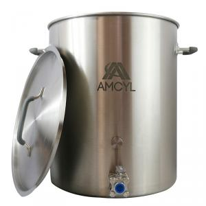 Brew Kettle - 10 Gallon AMCYL w/Weldless Ball Valve, Port & Plug