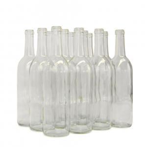 Wine Bottles - 750mL Clear Bordeaux Bottles, Flat Bottom