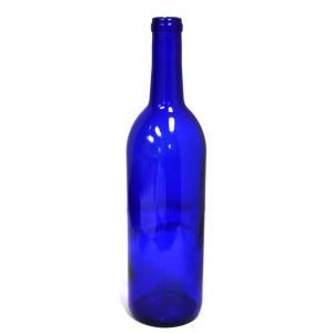 Wine Bottles - 750mL 5th Cobalt Blue Bordeaux Bottles, Flat Bottom