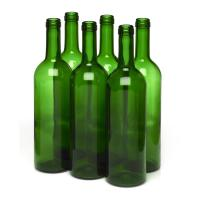 Wine Bottles - 750mL Green Bordeaux Bottles, Flat Bottom