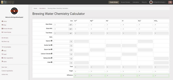 New in MIBrew: Brewing Water Chemistry Calculator!